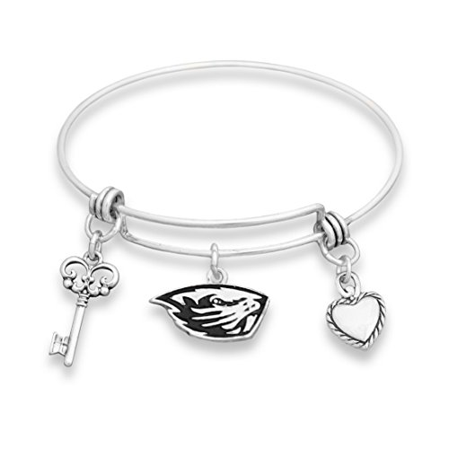 Beaver Costume Accessories (Oregon State Beavers Silver Tone Bangle Bracelet, Heart and Key Charm)