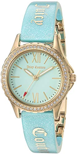 - Juicy Couture Black Label Women's JC/1068LBGB Swarovski Crystal Accented Gold-Tone and Light Blue Shimmer Resin Bangle Watch