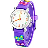 Mixe Waterproof 3D Cute Cartoon Digital Silicone Wristwatches Time Teacher Gift for Little Girls Boys Kids Children (Purple Butterfly)