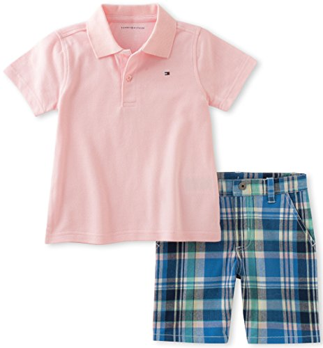 1c8278355 Galleon - Tommy Hilfiger Little Boys' 2 Piece Polo And Plaid Short Set,  Pink, 7