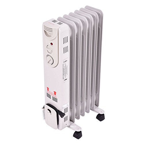 Tangkula Electric Oil Filled Radiator Heater Portable Home Room Radiant Heat 5-Fin Thermostat 1500w by Tangkula