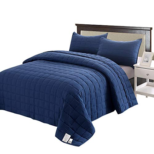 EMME 2-Piece Reversible Quilt Set Twin/Twin XL (66''x90'') Bedspread for All Season Enzyme Washed Coverlet Set Hypoallergenic Comforter Bedding Cover Solid Square Pattern Lightweight Super Soft (Navy) (Twin Solid Quilt)