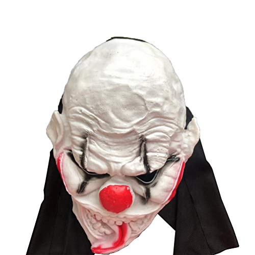 Amosfun Halloween Costume Mask Latex Clown Head Masks Funny Horror Mask Costume Head Cover Birthday Halloween Headgear Party Favors for Kids Adults Photo Props]()
