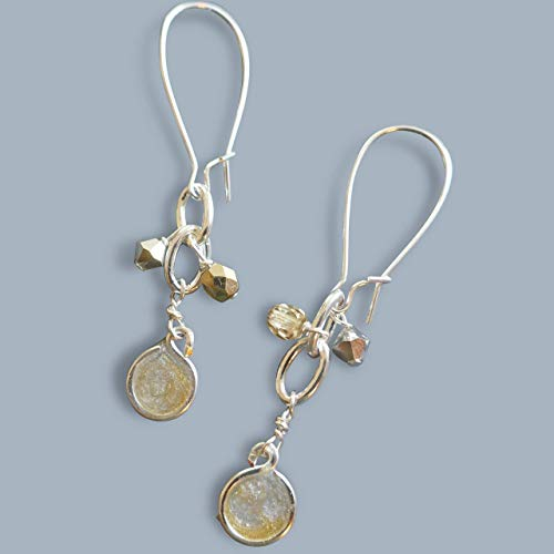 Handmade Silver/Gold 2 Tone Womens Cluster Drop Earrings Beads by Bettina