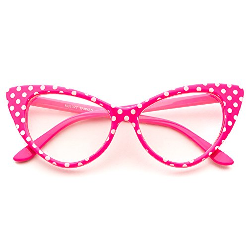 Cat Eye Glasses Vintage Inspired Mod Fashion Clear Lens Eyewear (Pink Polka Dots, - Cat Style Eyeglasses