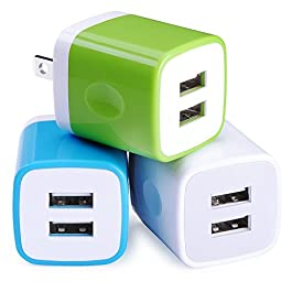 Wall Charger, Sicodo 3-Pack Dual Port USB Home Travel Wall Charger Plug Compatible with iPhone X,8,7 Plus,6 Plus, Tablet…