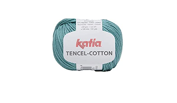 Tencel-Cotton, Katia 01/Blanco, Turquesa, 4 Hilos Katia Algod/ón Tejer