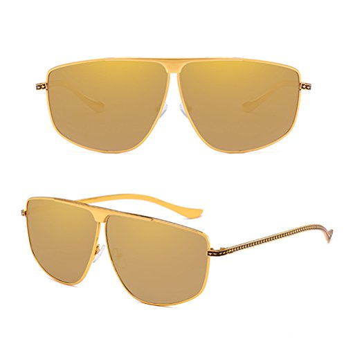 Hommes Zhuhaitf Protection Sunglasses Exquis Carré Mens Lunettes et Soleil de Mesdames pour Adapté Ladies Irrégulier Frontière des Poids UV400 gold Léger qxpf4