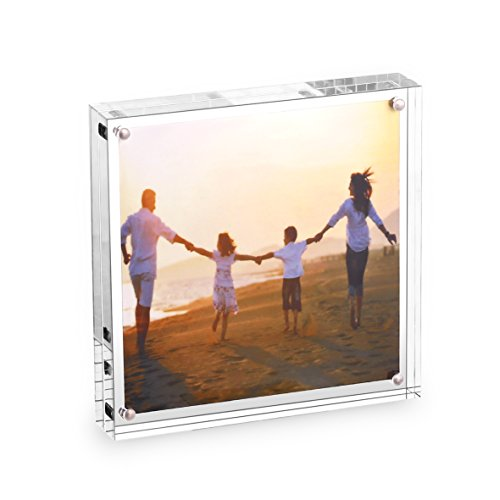 HESIN 5 by 5 inch Clear Acrylic Photo Frame Thickness 12+12mm,Stable Tabletop Magnet Frame Double Sided Picture Frame with Gift Box Package