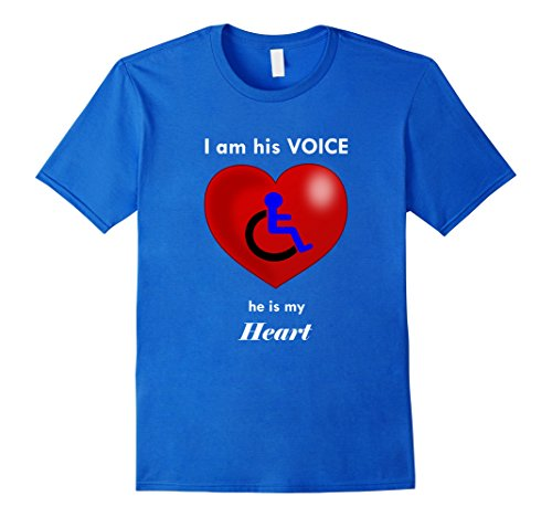 Mens Special Needs Boy in Wheelchair Heart Mom or Dad T-Shirt Medium Royal - Royal Chair Childs