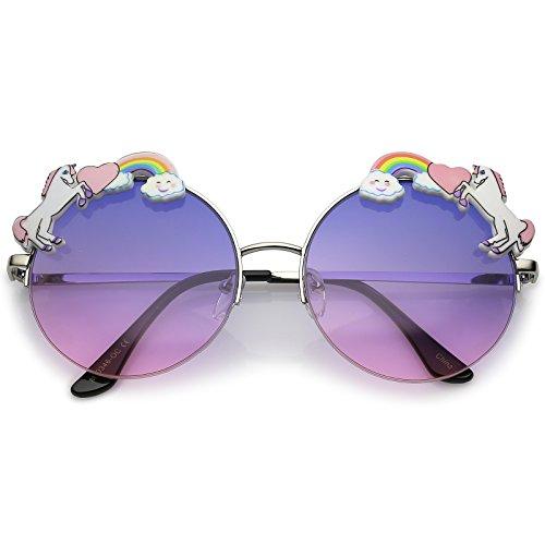 zeroUV - Unicorn Rainbow Semi Rimless Gradient Colored Round Lens Sunglasses 56mm (Silver / Blue - Sunglasses Unicorn