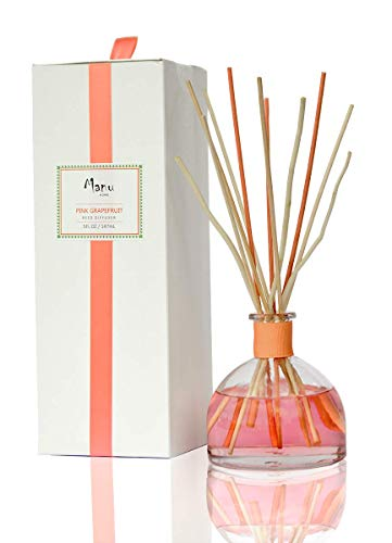 (Manu Home Pink Grapefruit Reed Diffuser Set | Clean, Refreshing, Energizing Aroma of Grapefruit with a hint of Natural Orange | Best Essential Oils Used | 5oz | Vegan |)