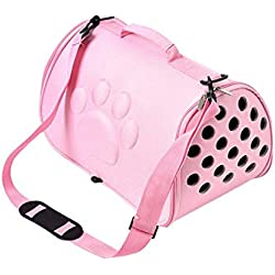 ZZmeet Dogs Cat Folding Pet Carrier Shoulder Bag Cage Collapsible Puppy Crate Handbag Carrying Travel Bags Pets Supplies Transport,Pink,42x26x26cm