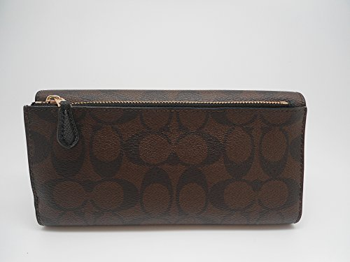 Coach Signature PVC Coated Canvas Checkbook Wallet, F52681 IMAA8 (Brown/Black)