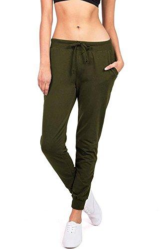 Ambiance Women's Juniors Soft Jogger Pants (S, Olive) (Olive Drawstring)
