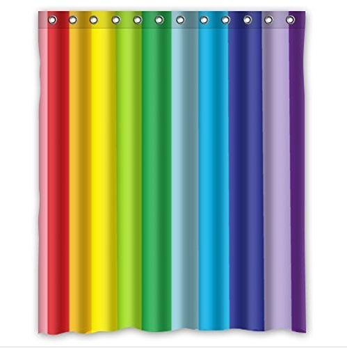 imple Abstract Colorful Rainbow Stripes Design Custom 100% Polyester Waterproof Shower Curtain 72