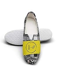 Women's Printed Yellow-Twenty-One-Pilots-Trench-Muzic-Logo- Flat Slip on Shoes Loafer Shoes
