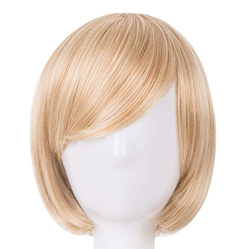 Short Wavy Wig Synthetic Heat Resistant Fiber Women Hair Halloween Carnival Hairpiece,P27/613,12inches]()