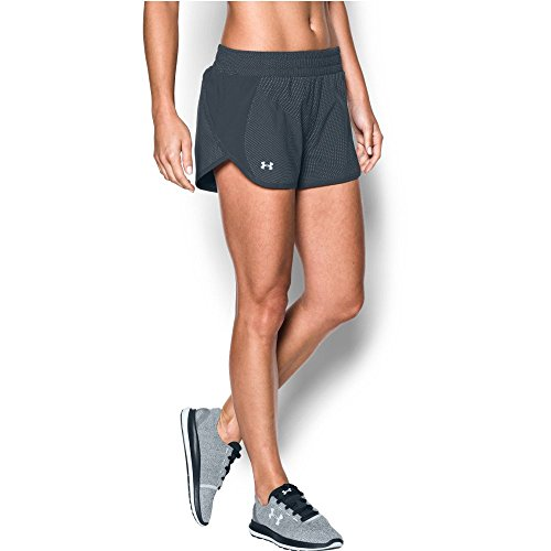 Under Armour Women's Launch Tulip Printed Shorts, Stealth Gray (008)/Reflective, (Good Directions Tulip)
