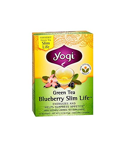 Yogi Tea Green Tea, Blueberry Slim Life 16 bags (Pack of 2)