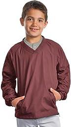 Sport-Tek - Youth V-Neck Raglan Wind Shirt. YST72 - Maroon YST72 XL