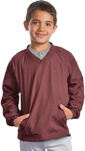 Sport-Tek - Youth V-Neck Raglan Wind Shirt. YST72 - Maroon YST72 XL by Sport-Tek