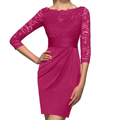 Spitze Etuikleider Damen Promkleider Partykleider Cocktailkleider Pink Dunkel Rot Abendkleider Langarm Charmant Mini OzI8xIw