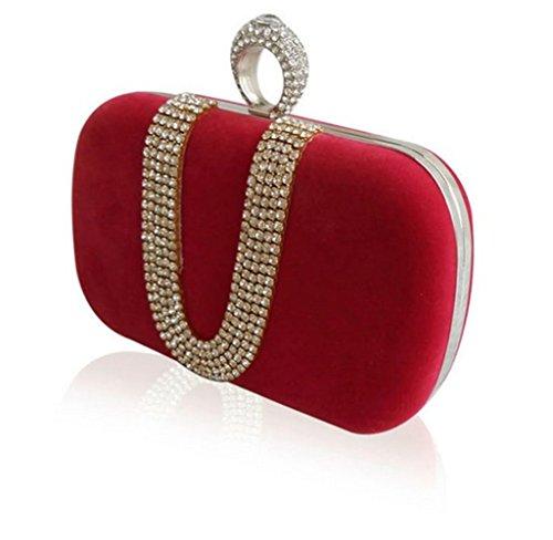 Sallyshiny - Cartera de mano para mujer - rojo