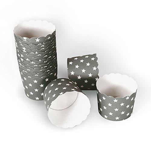 50 Frau Wundervoll Muffin Backformen aus stabilem Papier, groß Ø 6,1 cm, grau mit weißen Sternen / Muffinförmchen / Cupcake Backformen / Muffindeko Frau Wundervoll