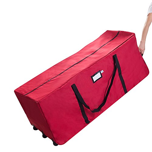 Polyester Large Roll Bag (Elf Stor Premium Red Rolling Duffle Bag Style Christmas Tree Storage)