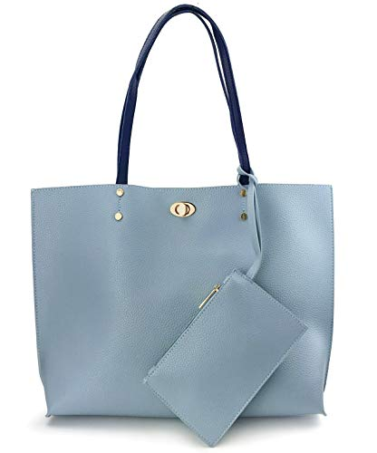 (Women's Tote Color-Block Pebbled Faux Leather Shoulder Handbag With Zipper Pocuh Wristlet (Blue))