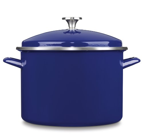 Cuisinart EOS106-28CBL Chef's Classic Enamel on Steel Stockpot with Cover, 10-Quart, Cobalt (Cobalt Stock)