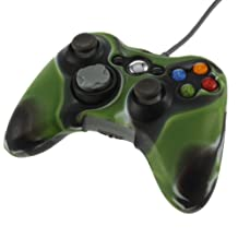 DETL Army Camouflage Silicone Cover Case Skin for Xbox 360 Wireless Controller (Army green)