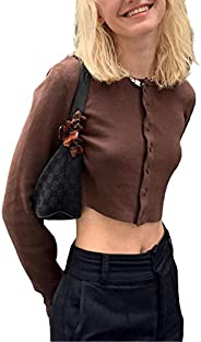 Women Girls Casual Patchwork Knit Cardigan Long Sleeve E-Girls Crewneck Crop Tops 90s Y2k Blouse