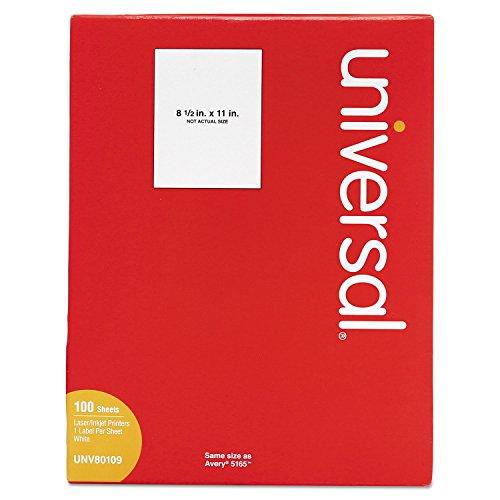 Universal 80109 Laser Printer Permanent Labels, 8 1/2 x 11, White, 100/Box