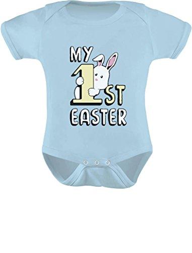 Tstars My 1st Easter Gift Cute Little Bunny Infant Easter Baby Bodysuit Newborn Aqua