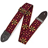 """Levy's Leathers 2"""" Vintage Hootenanny Jacquard Weave Guitar Strap with Garment Leather Backing (M8HTV-21)"""