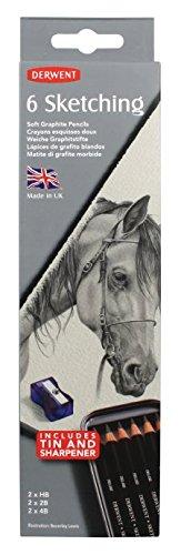 Derwent Sketching Pencils, 4mm Core, Metal Tin, 6 Count (0700836) - Derwent Graphic Pencil Box