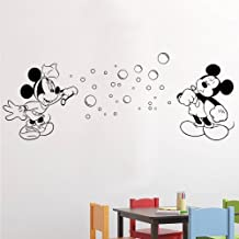 Mickey and Minnie Blowing Bubbles - girl's boy's child bedroom playroom nursery (Color: Metallic Silver Size: Large)