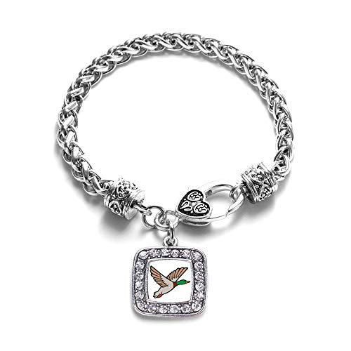 (Inspired Silver - Duck Season Braided Bracelet for Women - Silver Square Charm Bracelet with Cubic Zirconia Jewelry)