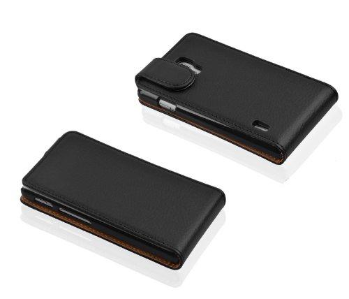 Cadorabo - Funda Flip Style para LG OPTIMUS L7 II (P710) de Cuero Sintético - Etui Case Cover Carcasa Caja Protección en NEGRO-ÓXIDO NEGRO-ÓXIDO