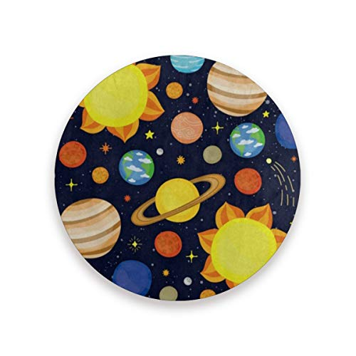 (Coasters for Drinks,Cartoon Planet Solar System Ceramic Round Cork Trivet Heat Resistant Hot Pads Table Cup Mat Coaster-Set of 2 Pieces )