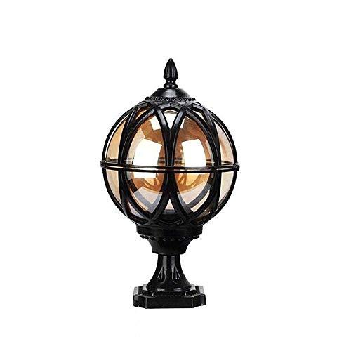 Skingk Black Globe Pillar Post Lamps Aluminium Die-Casting Glass Outdoor Waterproof IP55 Column Light Lantern Creative Ball E27 Bollard Light Patio Porch Gate Street Lighting Fixture (Size : 40cm) ()