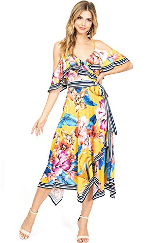 Flying Tomato Women's Colorful Open Shoulder Wrap Dress (L, Yellow)