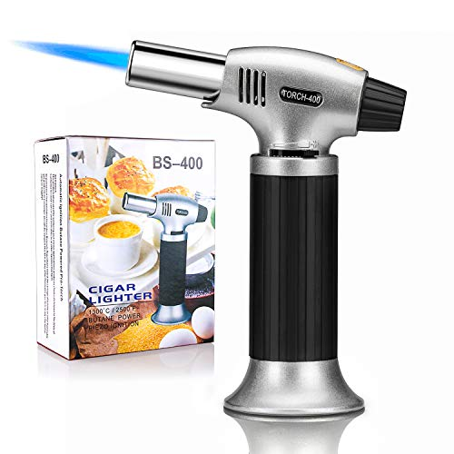 Sondiko Culinary Torch, Blow Torch Refillable Kitchen Butane Torch Lighter with Safety Lock and Adjustable Flame, Perfect for Desserts, Creme, Brulee, BBQ and Baking(Butane Gas Not Included)