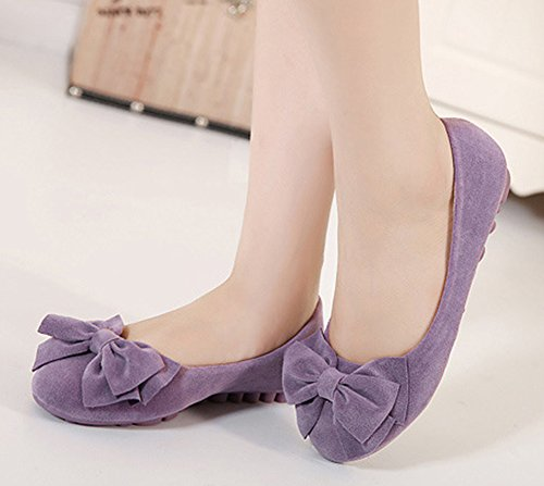 Sfnld Womens Cute Flat Slip On Loafers Moccasin Purple SKG5UC