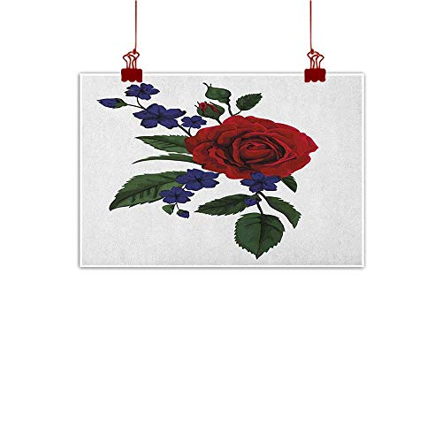 Sunset glow Wall Painting Prints Rose,Valentines Rosebud with Little Blossoms Love Passion Theme Artful, Ruby Violet Blue Hunter Green 48