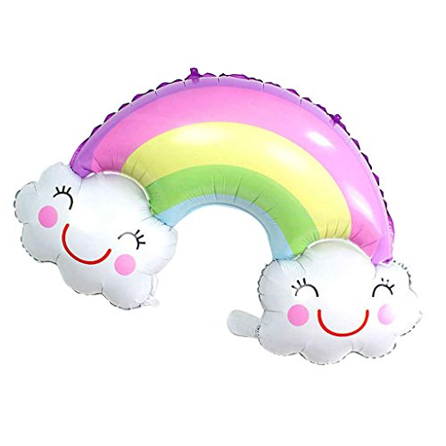 Baoblaze Smile Face Cloud Rainbow Metallic Foil Balloon Baby Shower Kids Party Toy