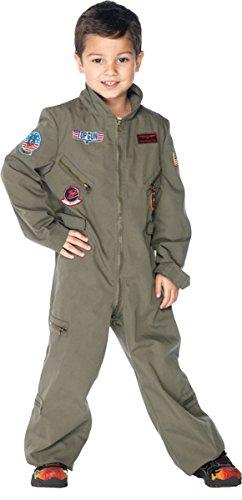 Leg Avenue Little Boy's Top Gun boys flight suit Adult Costume, khaki, MEDIUM ()