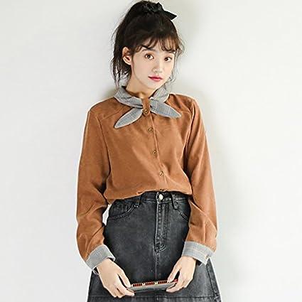 XXIN / Escote Camisa De Encaje con Lazo/Suelta/Estudiante Camisa De Manga Larga